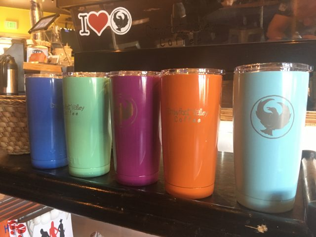 Laser etched powder coated stainless steel mugs